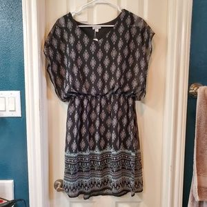 Black print flowy dress